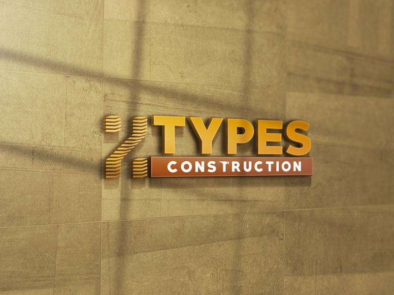 2 types construction logo design logos logotype logodesign flat design typography branding logo
