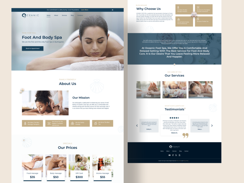 Spa landing page minimal website web flat design