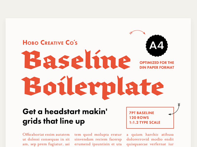 Baseline Boilerplate A4 Preview 1 by Hobo Creative Co  on