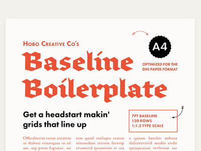 Baseline Boilerplate A4 Preview 1 layout typography design print a4 template indesign grid baseline