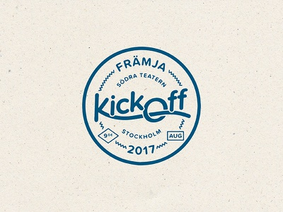 Kickoff Badge kick off event weird lock up type circle blue texture stamp badge