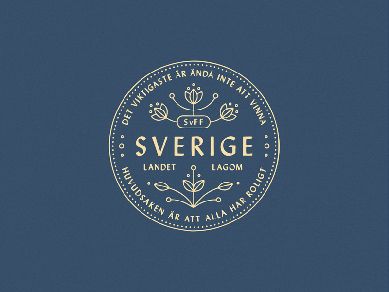 Swedish Soccer Team Logo world cup kurbits flower ornament fun win fifa sverige sweden badge logo soccer