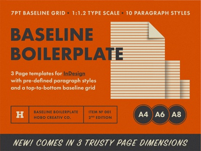 Baseline Boilerplate 2nd Edition brochure book folder magazine paragraph styles boilerplate grid baseline indesign template page a8 a6 a4 scale type typography design print layout