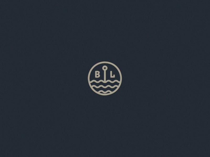 Black Lake Mini Logo monoline thic lines blue brand nature waves fishing beer craft beer brewery badge logo