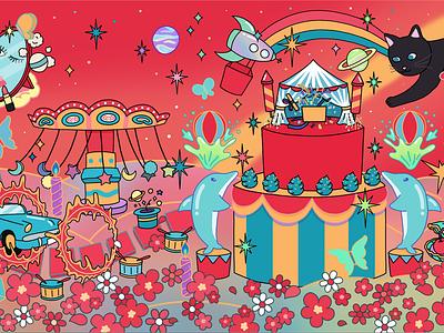 "Artworks for K-pop Girl group RocketPunch's 2nd EP ""Red Punch"" festive festival commercial illustration commercial art red package design colors colorful cat cute illustration album artwork album cover design album cover album art"