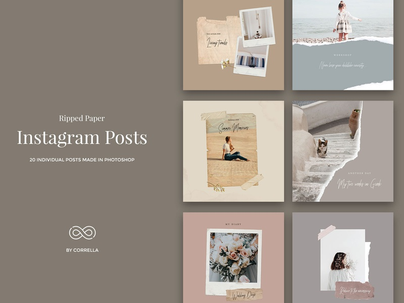 Ripped Paper - Instagram Posts vintage frame trendy torn paper torn texture social media pack social media graphic ripped paper ripped retro psd banner polaroid photoshop photo frame paper old paper modern minimal