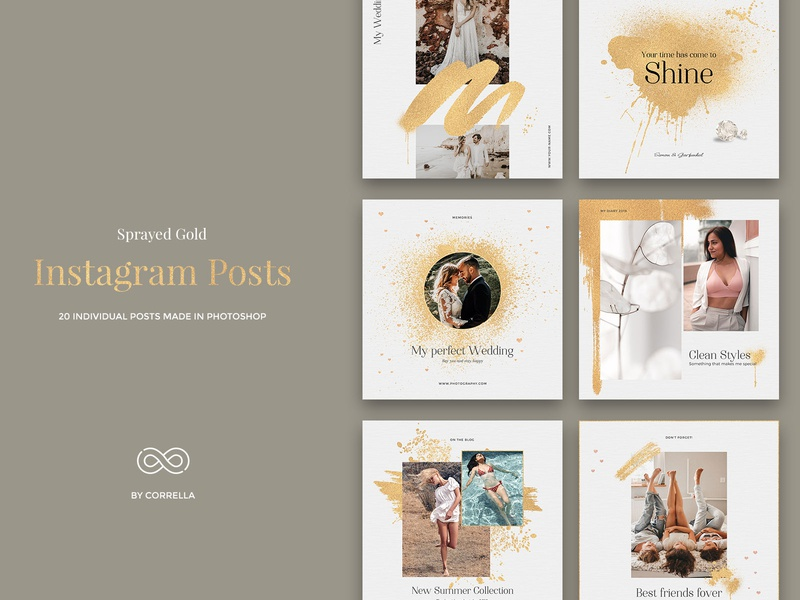 Sprayed Gold - Instagram Posts sprayed gold sprayed spray social media pack social media graphic social media psd banner photoshop paper modern minimal lifestyle instagram gold fashion diary brushed gold