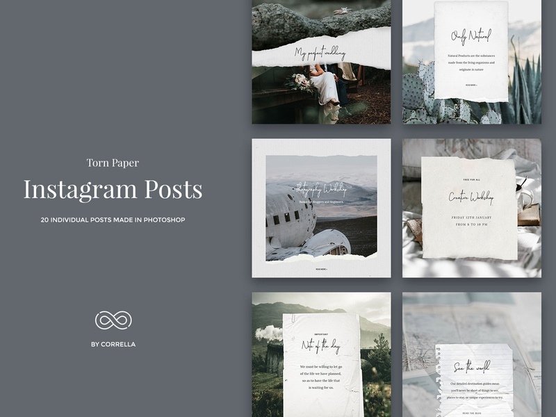 Torn Paper - Instagram posts torn paper torn social media pack social media graphic social media sale psd banner posts post photoshop paper texture paper old paper modern minimal marketing lifestyle instagram