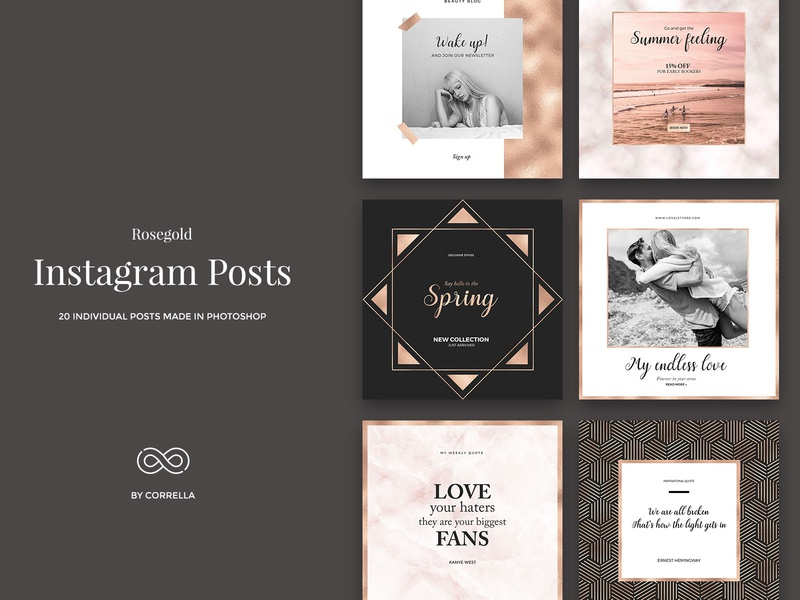 Rosegold - Instagram Posts modern minimalist minimal marketing marble lifestyle instagram gold glitter feminine fashion brand fashion diary cooper clean blogger template blogger kit blog post blog banners
