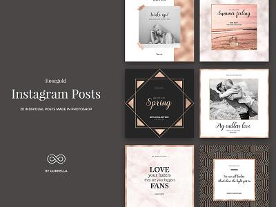 Rosegold - Instagram Posts modern minimalist minimal marketing marble lifestyle instagram gold glitter feminine fashion brand fashion diary cooper clean blogger template blogger kit blog post blog banners
