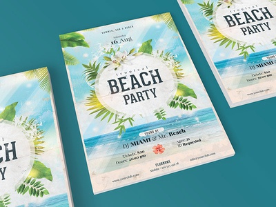 Retro Beach Party Flyer vintage logo retro photoshop summer flyer beach party flyer