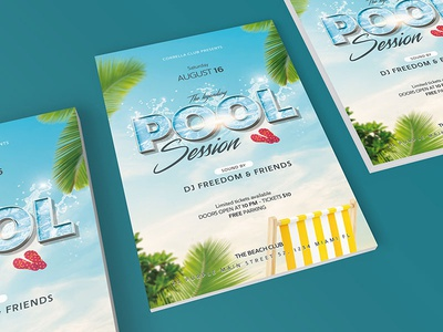 Pool Party Flyer minimal 3d text beach summer flyer photoshop template template