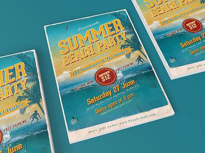 Retro Beach Party Flyer event summer photoshop beach party template party flyer vintage retro