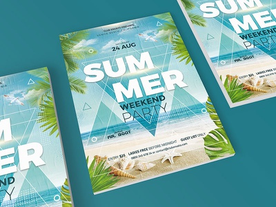 Summer Party Flyer party flyer beach party event summer party photoshop template
