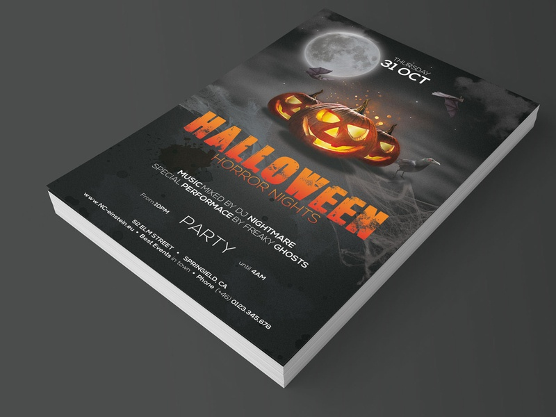 Halloween Party Flyer dark pumpkin horror night fright night party flyer photoshop template horror art halloween flyer halloween