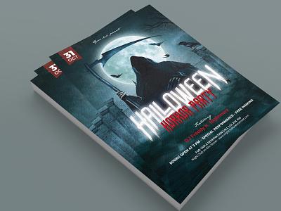 Halloween Party Flyer photoshop template cemetary bat full moon dark blue grim reaper halloween party halloween flyer halloween