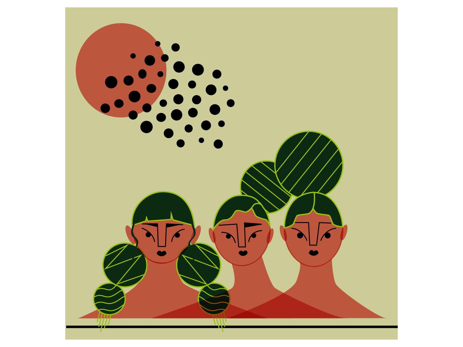 Watermelon Girls lineart editorial art watermelon editorial illustration editorial sun poster illustrator graphic design flat  design design artwork artist character concept woman vector character art illustration