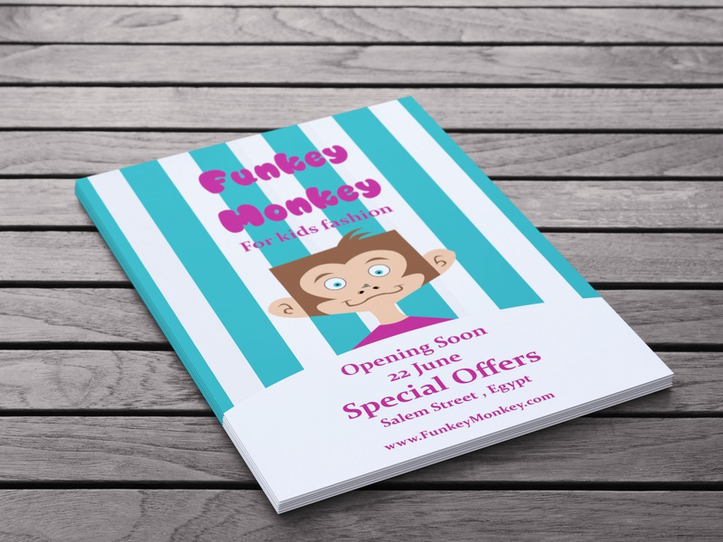 kids store flyer design branding logo illustration