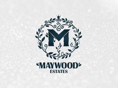 Maywood Estates logolounge logo design handdrawn leaves blue floral identity branding logodesign logo