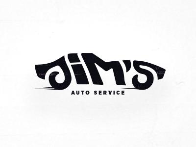 Jim's Auto Service Logo negativespace logolounge vehicle ride muscle stingray customtype automobile 1969 oldschool convertible corvette