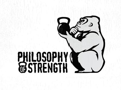 """Philosophy of Strength"" Logo Design from boston logolounge darwin chimp ape silverback gorilla kettlebell strength philosphy evolvered silverback ape"
