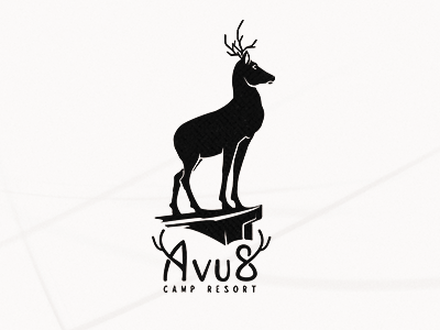 Avus Logo logolounge logo design evolvered logomark resort camp logo icon antlers deer