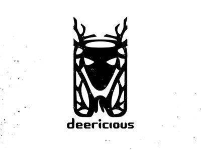 Deericious logolounge logo icon deer custom black design antlers skull hunting