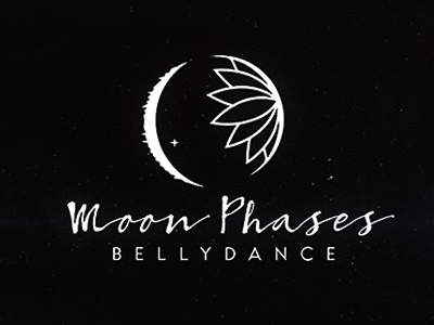 Moon Phases fromboston logo design alexevo icon stars lotus space bellydance dance moons moon logo