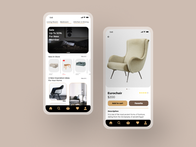 Furniture Mobile App online shop concept store chair interface furniture store shop ux ecommerce mobile app design ui