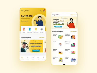 Market Services Mobile App ui ux service promos cards buy promotion android app management home screen shopping balance banner product design interface illustration app mobile ux ui design