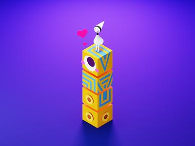 Ida and Totem - Monument Valley 💙 love character monument-valley totem monument valley monumentvalley ida gameart games game fanart isometric render illustration design blender3d blender 3d