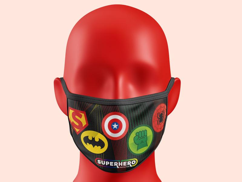 Mask - Kids rogersport spiderman batman captain america hulk superman superhero hero textile mask facemask