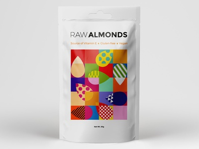 RAW ALMONDS creative geometric illustrator almonds almond nut nuts colorful packaging