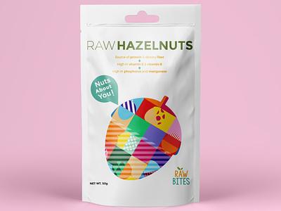 Raw Hazelnuts pattern fun scack packaging colorful hazelnut nuts illustration creative geometric illustrator