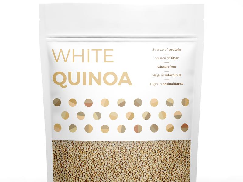 White Quinoa geometric grains seeds nuts quinoa packaging vector simple illustration illustrator