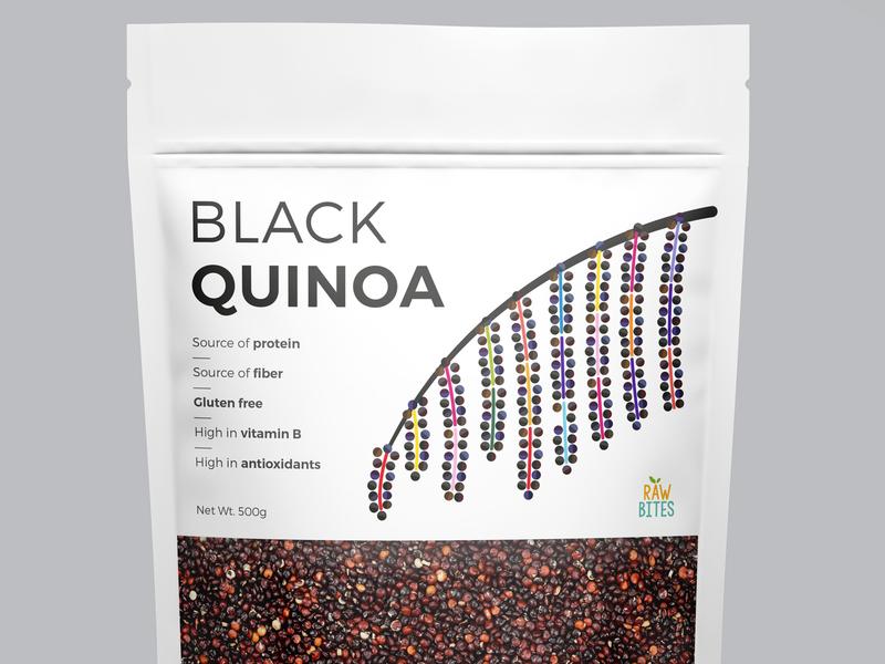 Black Quinoa health grains seeds nut quinoa creative vector packaging illustration geometric illustrator