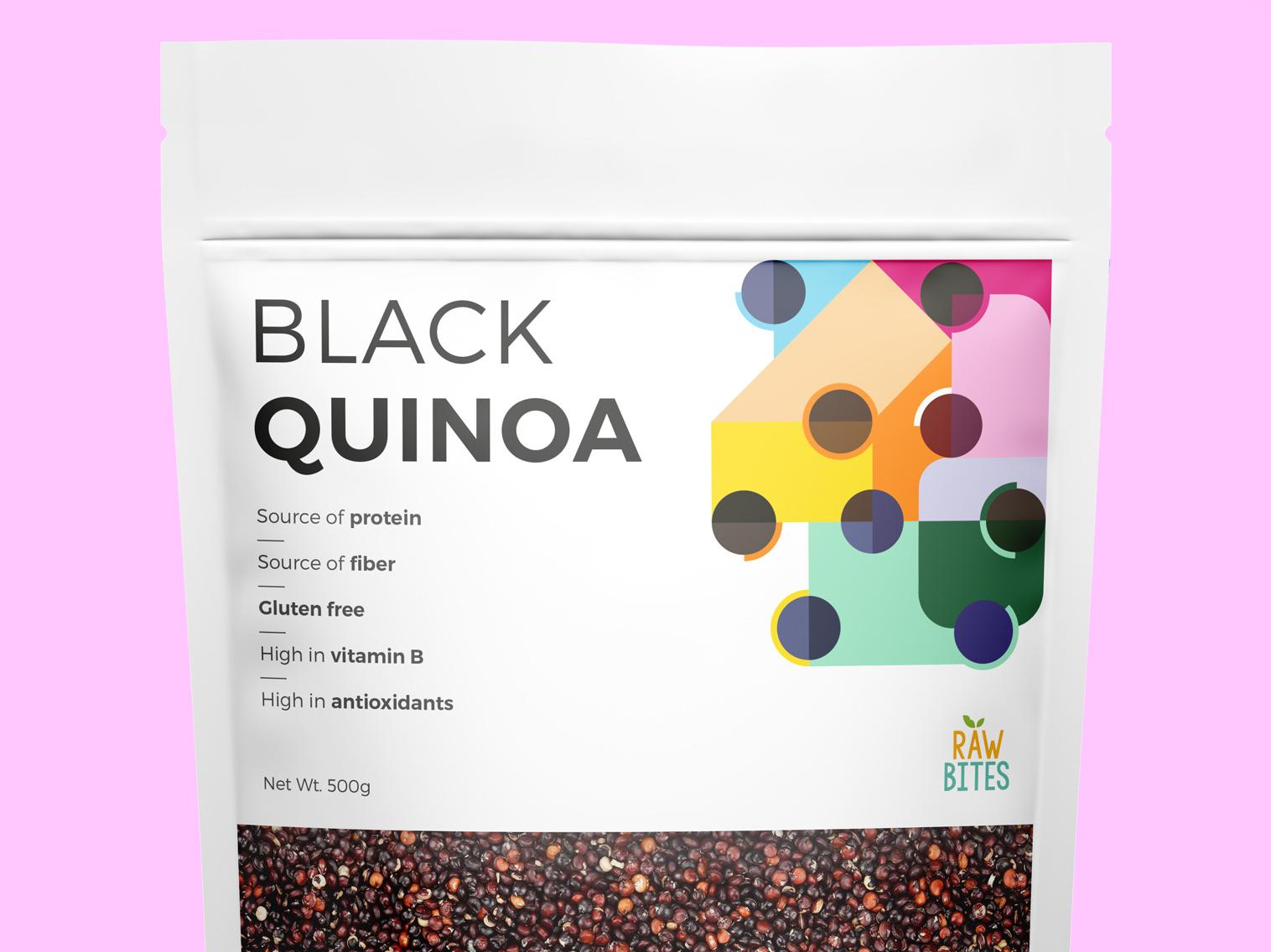Black Quinoa colorfull illustrator illustration vector geometric simple packaging quinoa