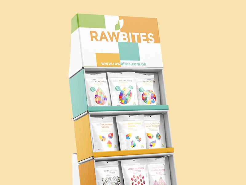 Raw Bites Labels goji berries cacao niibs cacao salt quinoa seeds nuts pattern packaging healthy graphic design fitness snack illustrator colorful label packaging label