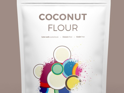 Coconut Flour geometric creative illustration vector illustrator healthy snack clean pattern colorfull packagingpro coco flour coconut
