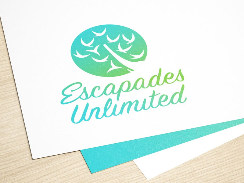Escapades Unlimited Concept 1 tree blue green sri lanka elephant bird gradient simple custom lettering premium nature custom type