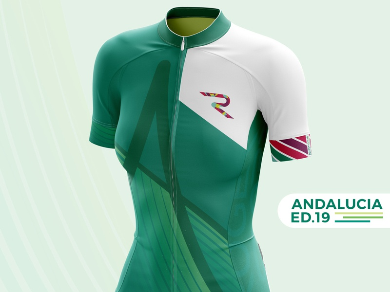 Andalucía Edition geometric colorfull details gradient photoshop illustrator 2019 fluor flag green rogersport andalucia maillot cycling jersey design