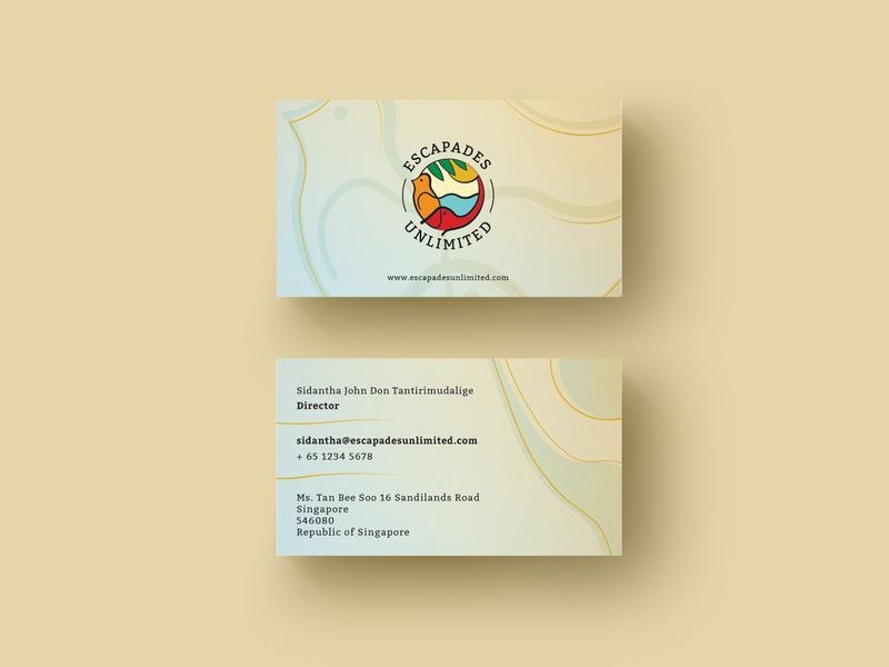 Escapades Unlimited Business Card lightanddarkstudio gold bird elephant premium tour business card