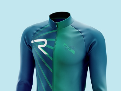 RADIANT - Front lightanddarkstudio mockup photoshop illustrator vector creative geometric radiant diagonal blue green rogersport ciclismo cyclist cycling jacket jersey neon