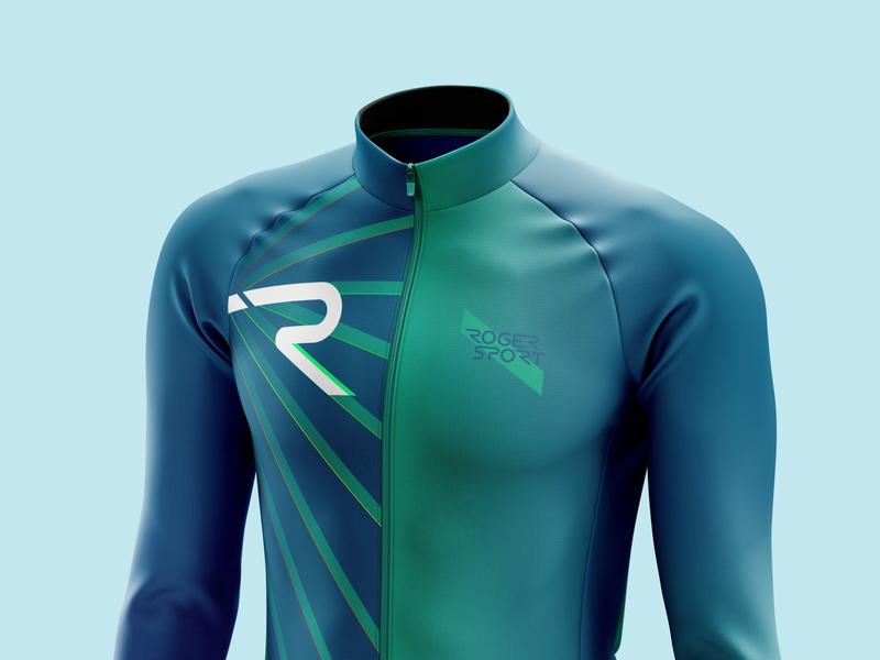 RADIANT - Front lightanddarkstudio mockup photoshop illustrator vector creative geometric radiant diagonal blue green rogersport ciclismo cyclist cycling jacket jersey neon