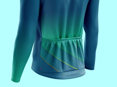 RADIANT - Back lightanddarkstudio illustration geometric illustrator blue green ciclismo cyclist cycling jersey diagonal rogersport neon fluor