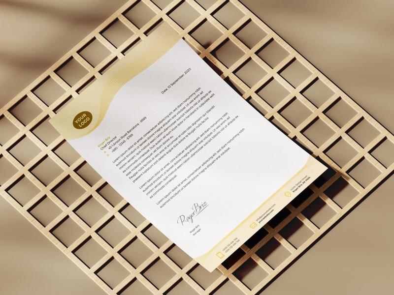 Free LetterHead Template branding design illustrator freebie elegant simple letterhead template