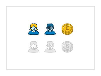 Boy / Girl Icons icons illustration design