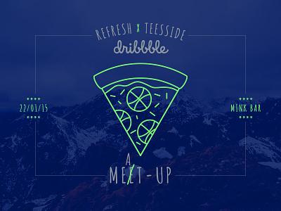 Refresh Teesside Dribbble Meat-up pizza illustration