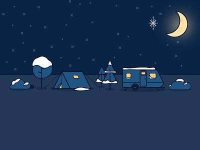 Wintery Scene moon night caravan tent camping winter illustration