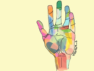 A virtual abstract hand for change copicmarkers fill colors vector illustration cartoon